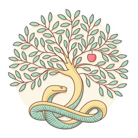 Tree of the knowledge of good and evil with snake and apple. Colorful design. Vector Illustration