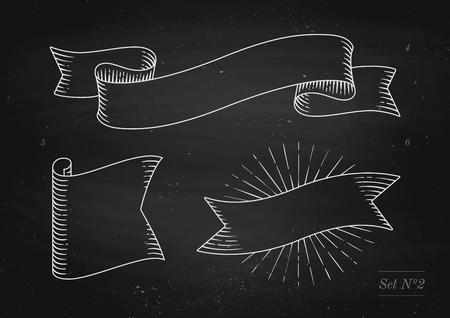 Conjunto de viejas banderas de la cinta de la vendimia en estilo del grabado en un fondo y una textura negros de la pizarra. Dibujado a mano elemento de diseño. Ilustración del vector