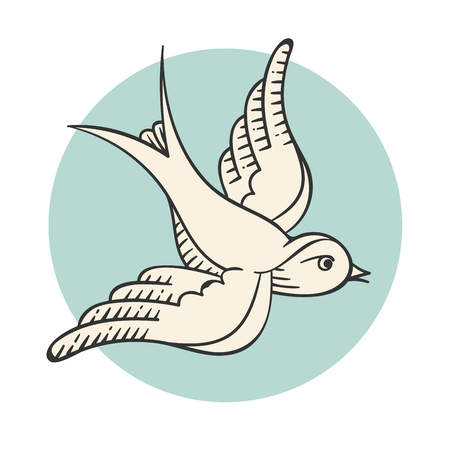 Set of old vintage object in engraving style. Icon bird for tattoo isolated on turquoise or mint circle background. Hand drawn design and element. Vector Illustration