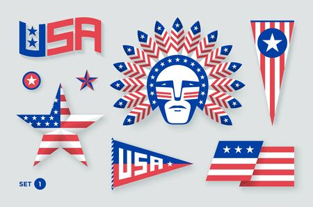 independence: Set of USA symbols and design elements for Independence Day. White, red, blue colors. Vector Illustration