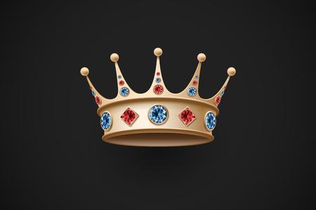 Icône de la couronne royale d'or avec diamand rouge et bleu sur un fond noir. Vector Illustration