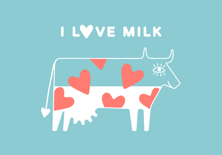 udder: Happy cow with udder and red heart full of milk. Poster - I love milk. Vector illustration
