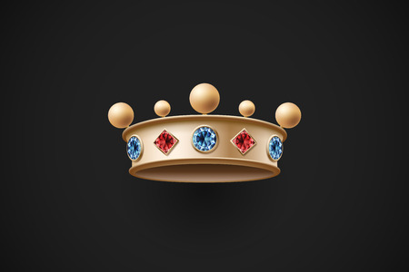 blue diamond: Icon of gold royal crown with red and blue diamond on a dark black background. Vector Illustration