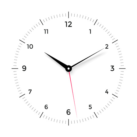 red  pointer: White clock face with black and red pointer on white background. Vector Illustration Illustration