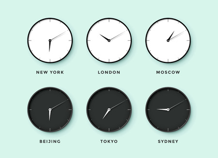 timezone: Set of day and night clock for time zones different cities. Black and white watch on a mentol background. Vector Illustration Illustration