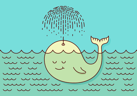 whale baby: Poster with cute careless whale baby swimming in the sea under rain making umbrella out of his fountain. Flat style design concept pastel colors. Vector illustration