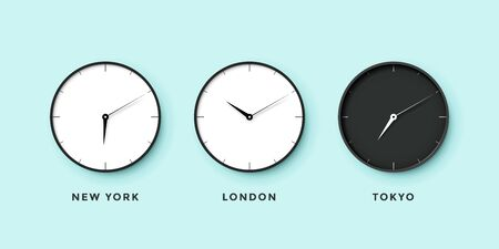 timezone: Set of day and night clock for time zones different cities. Black and white watch on a mint background. Vector Illustration