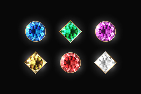 dazzling: Dazzling diamonds of different color and shape on a black background. Blue, green, violet, gold, red and white color. Vector Illustration