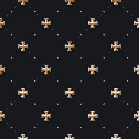 Seamless luxury dark black pattern and background with cross. Vector Illustration