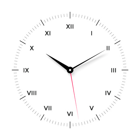 red  pointer: White clock face for with black and red pointer and roman numerals on white background. Vector Illustration