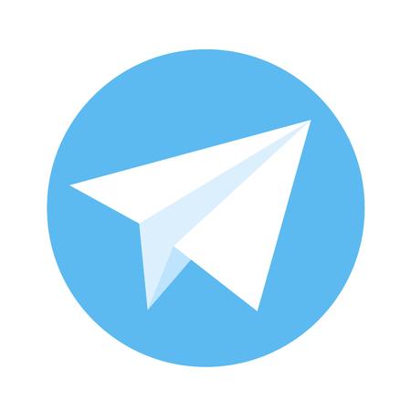 telegrama: Icono de avión de papel. Libro Blanco de plano sobre un fondo azul. ilustración vectorial