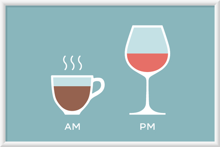 pm: Cup of coffee and glass of wine in cafe with symbol defferent time - morning and evening, am and pm. Poster with coffee and wine for cafe, restaurant and bar. Concept graphic design. Illustration