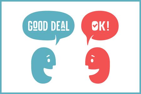 buen trato: Dos personas con diferentes formas de las nubes de conversación para los temas de descuento. Aceptable de la palabra y buen trato en la burbuja. Ilustración