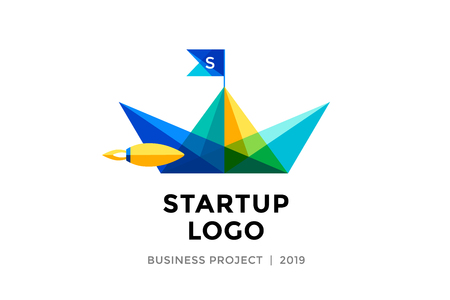 accelerator: startup project with inscription Startup - Business project. template of colorful paper boat. Business concept and identity symbol. Startup graphic design concept. Illustration Illustration