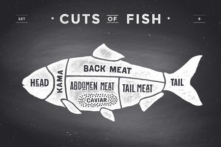 Cięcie mięsa zestaw. Plakat Butcher i schemat - ryby. Vintage typograficzne na czarnym tle tablicy. ilustracja