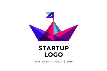 paper boat: startup project with inscription Startup - Business project. template of colorful paper boat. Business concept and identity symbol. Startup graphic design concept. Illustration Illustration
