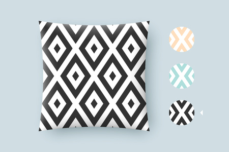 printshop: Seamless modern stylish texture and graphic pattern. Black repeating absract geometric tiles with dotted rhombus on a white background. For print on pillow in printshop. Illustration