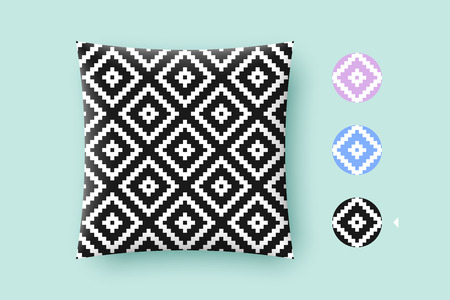 absract: Seamless modern stylish texture and graphic pattern. Black repeating absract geometric tiles with dotted rhombus on a white background. For print on pillow in printshop. Illustration