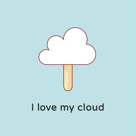 candy floss: Icon of Cloud files with ice cream and candy-floss. Creative concept graphic design. Cloud files with inscription I Love my Cloud. Illustration