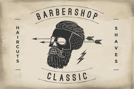 barbershop: Poster of Barbershop label on a beige paper texture. Retro vintage hipster skull for brand t-shirt print. template for branding design. Business concept and identity symbol. Illustration