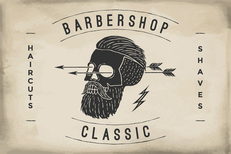 Poster of Barbershop label on a beige paper texture. Retro vintage hipster skull for brand t-shirt print. template for branding design. Business concept and identity symbol. Illustration