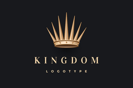 couronne de roi d'or et inscription Royaume sur un fond noir foncé. modèle pour le design de marque. Concept d'entreprise et symbole d'identité.