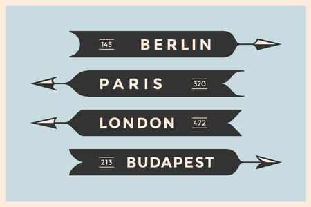 flechas direccion: Conjunto de flechas de la vendimia y pancartas con nombres diferentes ciudades. Berlín, Londres, París y Budapest. La vieja escuela elementos de diseño negro de estilo retro para señal de navegación en el fondo de color. Ilustración del vector Vectores