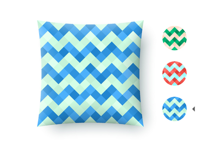 printshop: Seamless modern stylish abstract pattern. Blue repeating geometric zigzag mosaic on a turquoise background. For print on pillow in printshop. Pattern and graphic texture. Vector Illustration
