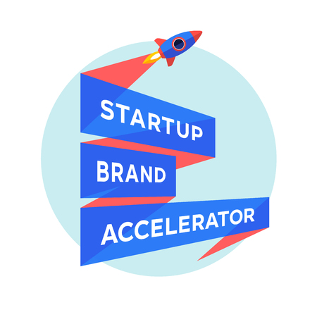 accelerator: start up project with inscription Startup Brand Accelerator.  template with three line ribbon. Business concept and identity symbol. Startup graphic design concept. Vector Illustration