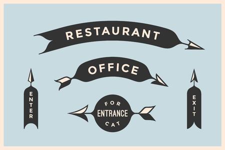 Ensemble de flèches vintage et des banderoles avec l'inscription Restaurant, Bureau, Entrée, Entrée, sortie. Les éléments de conception dans le style rétro des signes de flèche sur fond de couleur. Vector Illustration