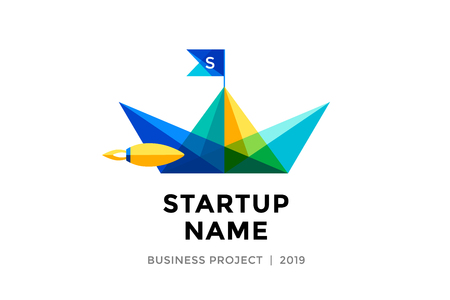 paper boat: Logo for startup project with inscription Startup Name - Business project. Logo template of colorful paper boat. Business concept and identity symbol. Startup graphic design concept. Vector Illustration Illustration