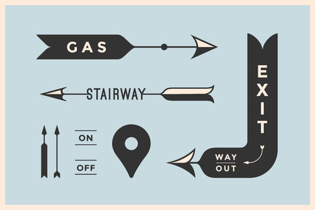way out: Set of vintage arrows and banners with inscription Exit, Way Out, Gas, Stairway. Design elements in retro style arrow signs on color background. Vector Illustration