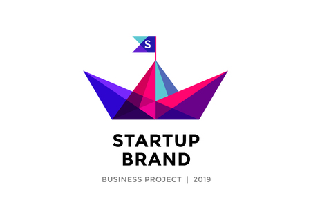 paper boat: Logo for startup project with inscription Startup Brand - Business project. Logo template of colorful paper boat. Business concept and identity symbol. Startup graphic design concept. Vector Illustration Illustration