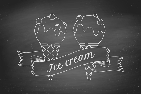 ice cream scoop: Ice cream scoop in cones and vintage engraving ribbon on black chalk board. Concept design in trendy chalk style for ice cream shop, cafe or menu. Ice cream icon of line graphic. Vector illustration