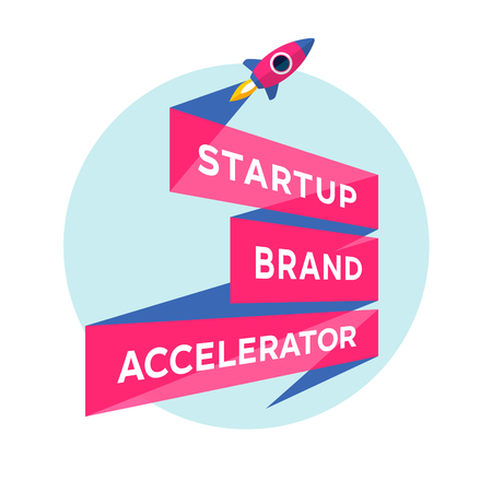 accelerator: Logo for start up project with inscription Startup Brand Accelerator. Illustration