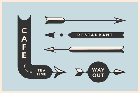 way out: Set of vintage arrows and banners with inscription Cafe, Way Out, Restaurant. Design elements in retro style arrow signs on color background. Vector Illustration