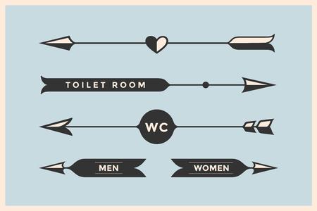 Ensemble de flèches et des banderoles avec l'inscription WC, salle de toilettes, Femme et homme vintage. Les éléments de conception dans le style rétro des signes de flèche sur fond de couleur. Vector Illustration