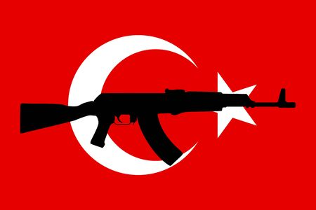 coup: Flag of Turkey with assault rifle. Graphic design and symbol of coup attempt in Turkey. Vector Illustration