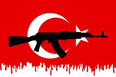 assault rifle: Flag of Turkey with assault rifle. Graphic design and symbol of coup attempt in Turkey. Vector Illustration