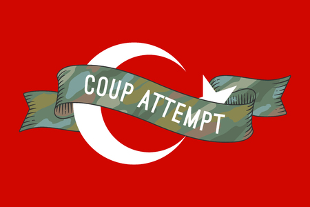 martial law: Flag of Turkey with military ribbon and message Coup Attempt. Graphic design and symbol of coup attempt in Turkey. Vector Illustration Illustration