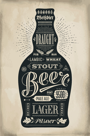 Poster bottle of beer with hand drawn lettering. Monochrome vintage drawing for bar menu, t-shirt print and beer themes. Isolated black bottle of beer wih lettering. Vector Illustration Vettoriali