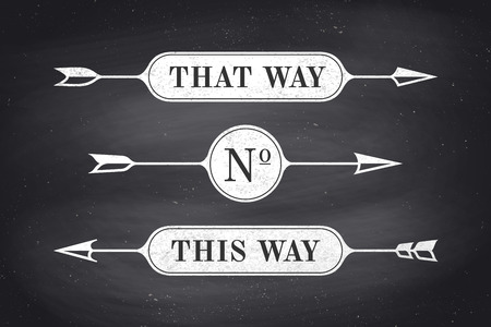 that: Set of vintage arrows and banners with text That Way and This Way. Design elements of set arrow for navigation. Retro style arrow on black chalkboard background. Vector Illustration