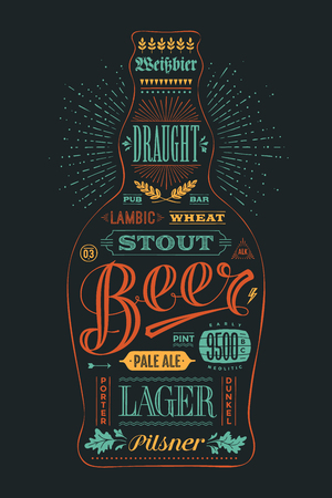 beer card: Poster bottle of beer with hand drawn lettering. Colorful vintage drawing for pub, bar menu, beer card, t-shirt print and beer themes. Isolated black bottle of beer wih lettering. Vector Illustration