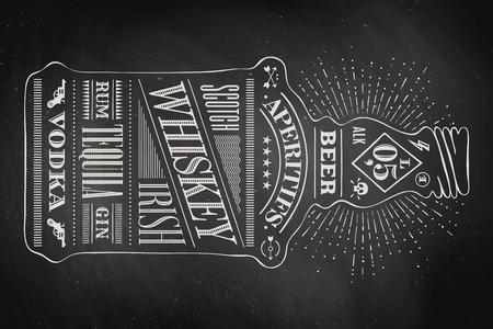 Plakat butelka alkoholu z ręcznie rysowane literami. Opierając się na pub, bar menu, karty alkoholu, koszulki nadruk, alkohol tematów. Izolowane butelkę alkoholu wih napis na tablicy. Ilustracja wektorowa