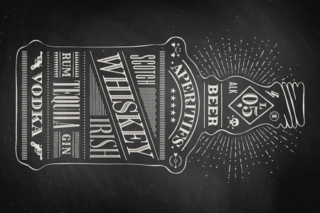 Poster bottle of alcohol with hand drawn lettering. Drawing for pub, bar menu, alcohol card, t-shirt print, alcohol themes. Isolated bottle of alcohol wih lettering on chalkboard. Vector Illustration