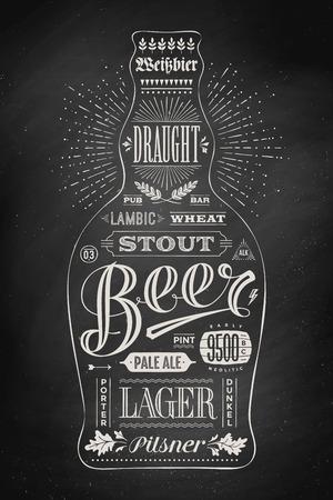 botella de cerveza cartel con letras dibujado a mano. Dibujo de pub, barra de menú, tarjeta de cerveza, camiseta de la impresión y los temas de cerveza. Botella aislada negro de las letras facturan con la cerveza en la pizarra. Ilustración del vector Ilustración de vector