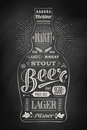beer card: Poster bottle of beer with hand drawn lettering. Drawing for pub, bar menu, beer card, t-shirt print and beer themes. Isolated black bottle of beer wih lettering on chalkboard. Vector Illustration