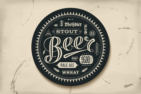 Coaster for beer with hand drawn lettering. Monochrome vintage drawing for bar, pub and beer themes. Black circle for placing a beer mug or a beer bottle over it with lettering for beer theme. Vector Illustration