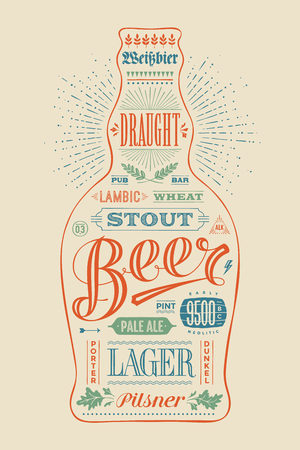 beer card: Poster bottle of beer with hand drawn lettering. Colorful vintage drawing for pub, bar menu, beer card, t-shirt print and beer themes. Isolated black bottle of beer with lettering. Vector Illustration