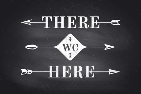 Ensemble de flèches et des bannières anciennes avec le texte Là, ici et WC. Les éléments de conception de jeu flèche pour la navigation. Rétro style de flèche sur le noir tableau de fond. Vector Illustration